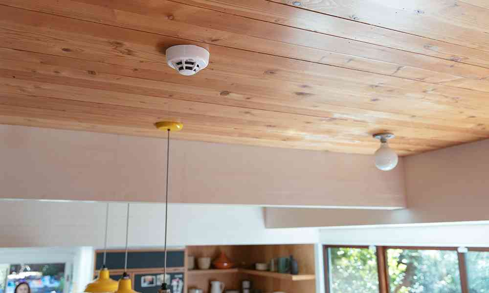 smoke detector wood ceiling kitchen